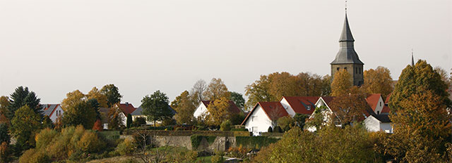 Blick von der Stadtmauer in Rüthen auf die Johanneskirche