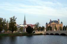 Blick vom Schweriner Schloss auf die Altstadt