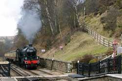 The Moors Explorer bei der Einfahrtt im Bahnhof Goathland