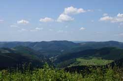 Blick vom Wanderweg unterhalb des Härdlers Richtung Westen