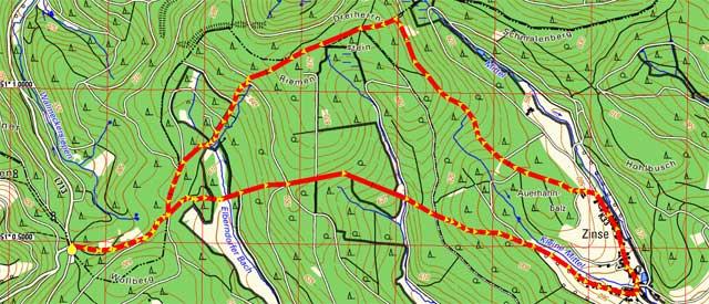 Wanderroute Zinse - Dreiherrnstein - Riemen