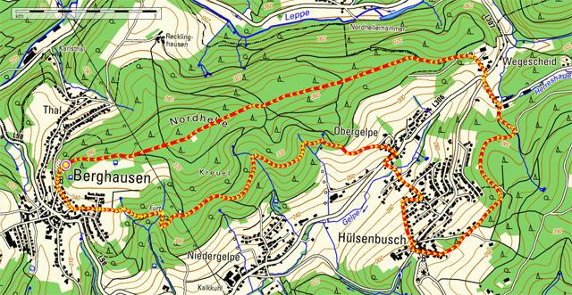 Wanderroute Berghausen-Hülsenbusch