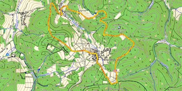 Route der Rundwanderum Brachthausen
