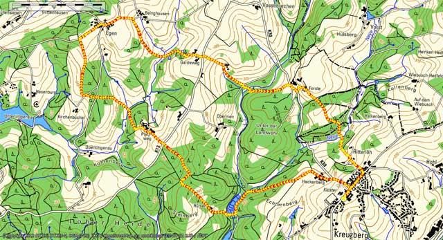 Route der Rundwanderung von Kreuzberg nach Egen