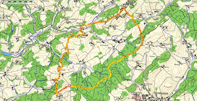 Route der Rundwanderung Ommerborn-Thier