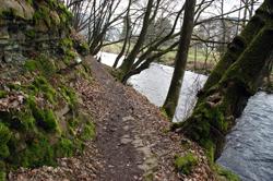 Der Pilgerweg verläuft unmittelbar entlang des Aggerufers