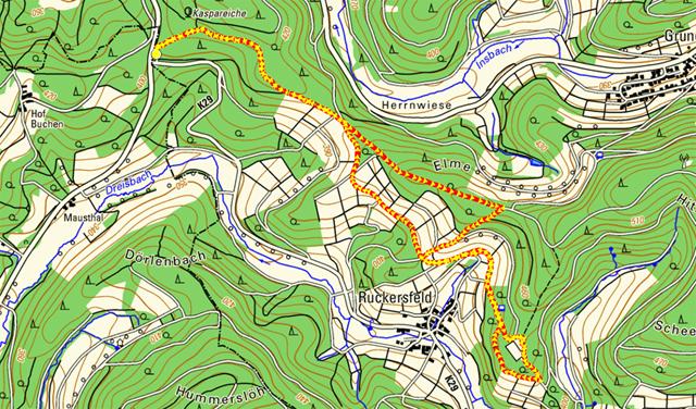 Route Kulturhistorischer Lernpfad Ruckersfeld-Oechelhausen
