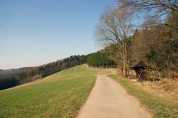 Kammweg mit Schutzhütte am Elme
