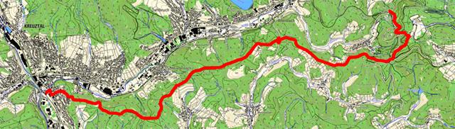 Route des Kreuztaler Zu- und Abgangwegs zum Rothaarsteig