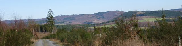 Blick zurück von der Herzhäuser Eiche auf Ginsburg und Giller