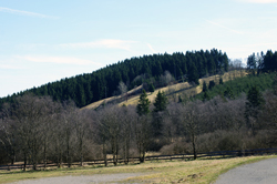 Blick über die Ginsberger Heide zum Skihang