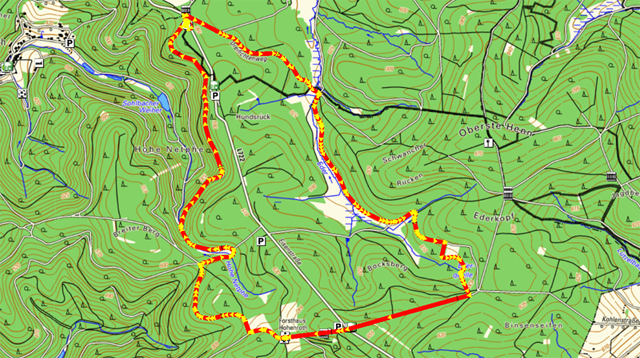 Route der Rundwanderung Ederquelle