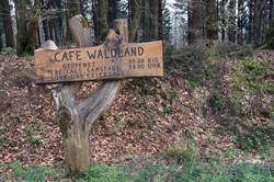 Uriger Wegweiser zum Café Waldland im Forsthaus Hohenroth