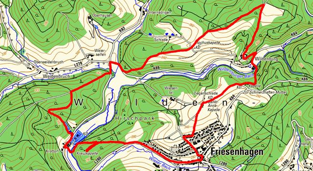 Route der Rundwanderung Friesenhagen