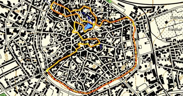 Route des Rundgangs durch die Soester Altstadt