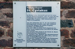 Hinweitafel ehemalige Propstei St. Cyriakus