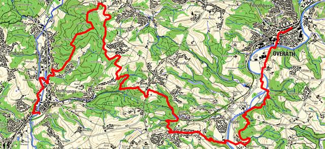 Route der Etappe von Hoffnungsthal nach Overath