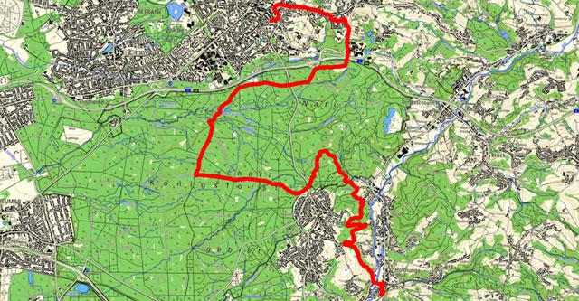 Route der Etappe von Bensberg nach Hoffnungsthal