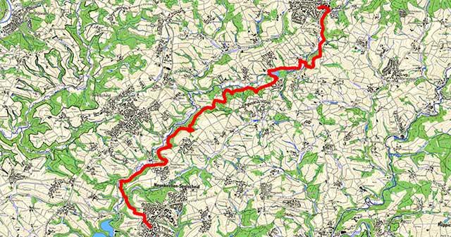 Route der Etappe von Much nach Neunkirchen