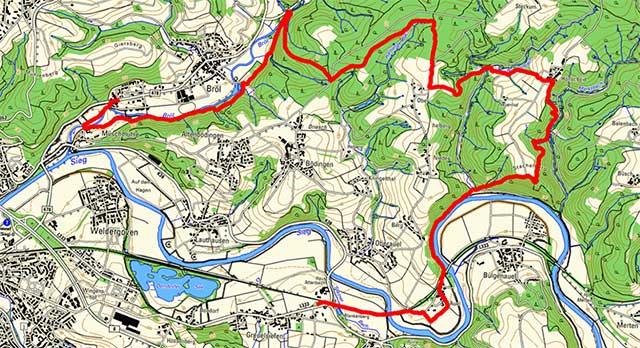 Route der Etappe auf dem Bergischen Weg von Bröl nach Blankenberg