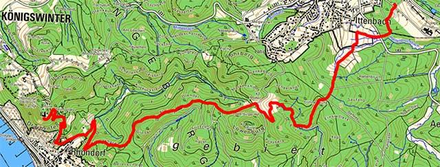 Etappenroute von Ittenbach zum Drachenfels