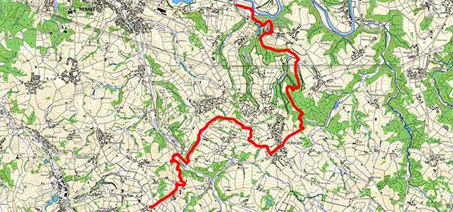 Route der Etappe auf dem Bergischen Weg von Blankenberg nach Sand