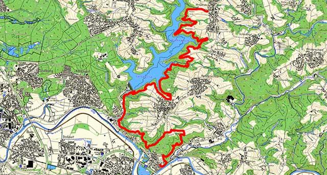 Route der Etappe des Bergischen Wegs von Wolperath nach Allner