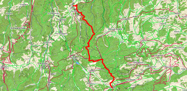 Route der Etappe auf dem Rothaarsteig von Bruchhausen nach Küstelberg