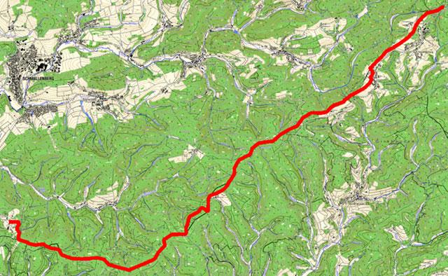 Route von Neuastenberg nach Jagdhaus