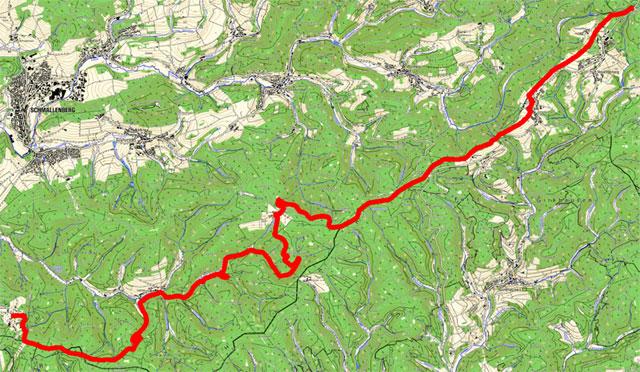 Route von Neuastenberg nach Jagdhaus (Talvariante)