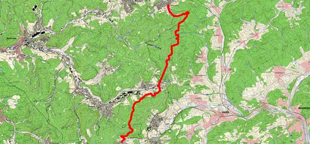 Etappenroute von Wilgersdorf nach Lützeln