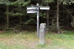 Kilometerstein 0 der Westerwaldvariante an der Kalteiche