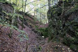 Stillgelegter Basaltsteinbruch im Aubachtal