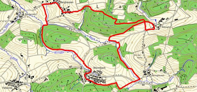 Route der Rundwanderung durch das Hawerland