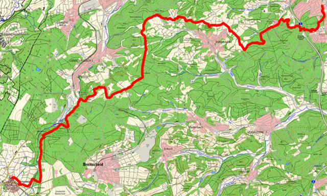 Route der Etappe von Rabenscheid nach Dillenburg