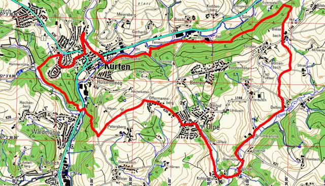 Route Mühlenweg Kürten