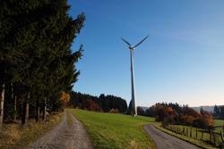 Windkraftanlage am Napoleonweg oberhalb von Rehringhausen