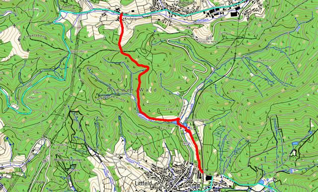 Wanderroute nach Kruberg