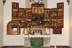 Der 1496 geweihte Passionsaltar in der Stiftskirche St. Marien