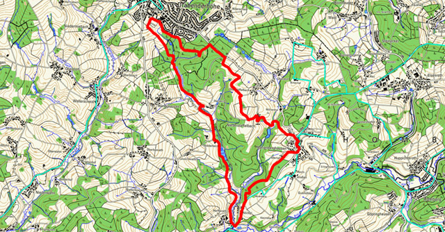 Route von Drabenderhöhe nach Marienberghausen