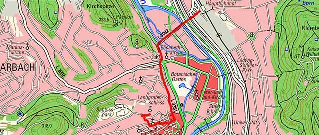 Wegpunkte Stadtrundgang Marburg